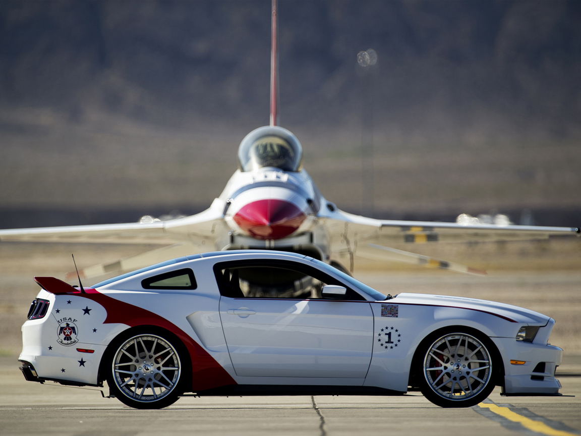 Компания Ford представила единственный в своем роде спорткар Mustang GT U.S. Air Force Thunderbirds Edition, который был продан на аукционе аэрошоу Experimental Aircraft Association (EAA) AirVenture 1 августа в городе Ошкош, штат Висконсин. Автомобиль был разработан чтобы отпраздновать 60-летний юбилей пилотажной группы Thunderbirds (Буревестники). Mustang выкрашен в красно-белый цвет в стиле реактивных истребителей. Кроме того, автомобиль получил широкий обвес, состоящий из нового переднего бампера с широким фартуком, боковых порогов, спойлера, установленного на крышки багажника и многореберного диффузора в заднем бампере. Завершают внешние преобразования стеклянная крыша и серебристые 22-дюймовые диски Forgiato.